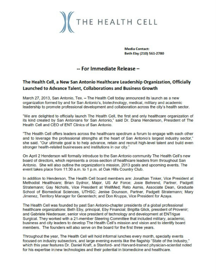 The Health Cell Press Release